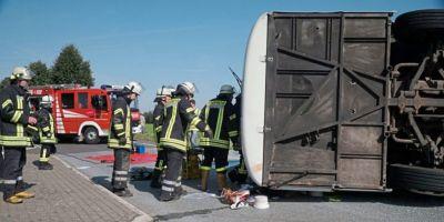 Accident intre un autobuz si un TIR in judetul Maramures. A fost activat Planul rosu de interventie